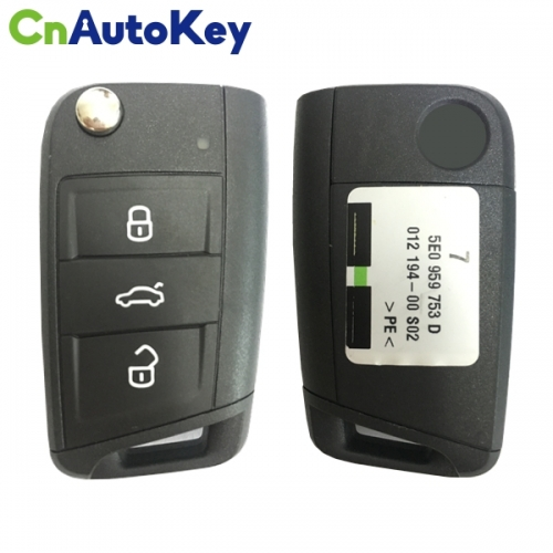 CN001091 3 Buttons 434 MHz MQB Type Flip Remote Key for Skoda Octavia 2012-2018 - 5E0 959 753 D