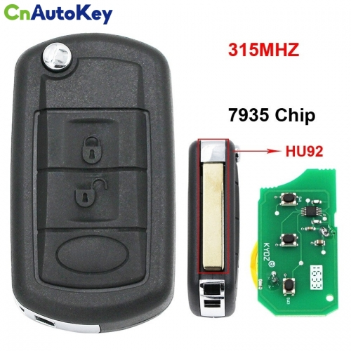 CN004007  3 Button Folding Flip Remote Key Smart Car Key 315Mhz + 7935 Chip Uncut Blade for Land Rover Range Rover Vogue