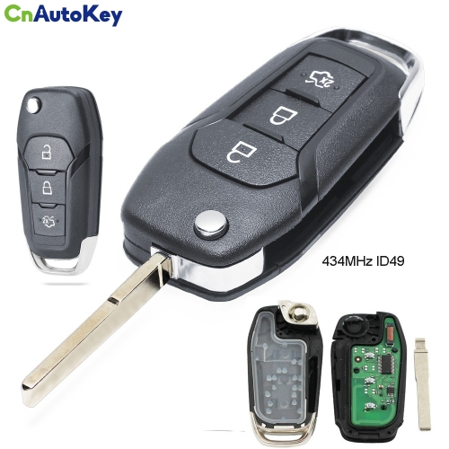 CN018053 Flip Remote Key Fob 3 Button 433MHz ID49 for Ford Escort / New Mondeo 2014-2017