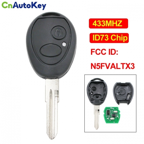 CN004033 2 Button OEM Remote Key Smart Car Key Fob 433Mhz ID73 Chip FCC ID N5FVALTX3 for Land Rover Discovery 1999 - 2004 Uncut Blade