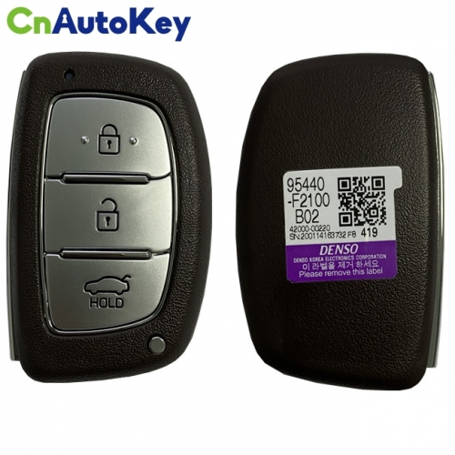 CN020149 Hyundai Elantra 2017-2018 Genuine Smart Key Remote 3 Buttons 433MHz DST128 Transponder 95440-F2100